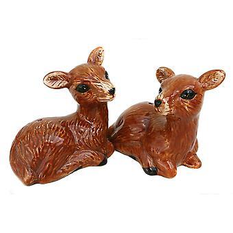 Par sød brun hjorte keramiske Salt og peber Shaker sæt