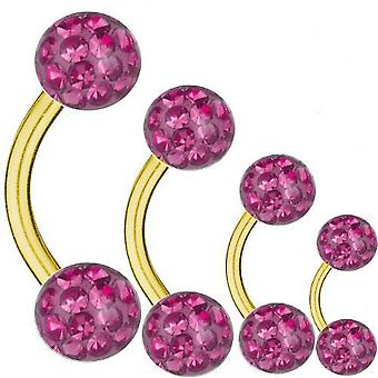 Curved Barbell Gold Plated Titanium 1,2 mm, Multi Crystal Ball Pink | 6 - 12 mm