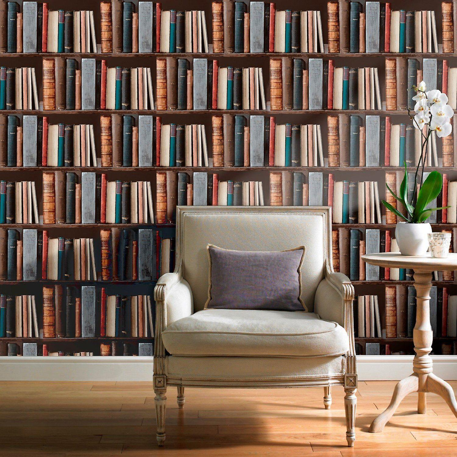 Bookcase Wallpaper Library Books Retro Classic Vintage Antique