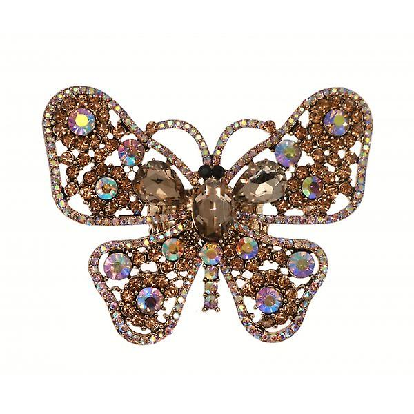W.A.T Sparkling Topaz Gold Crystal Big Butterfly Ring
