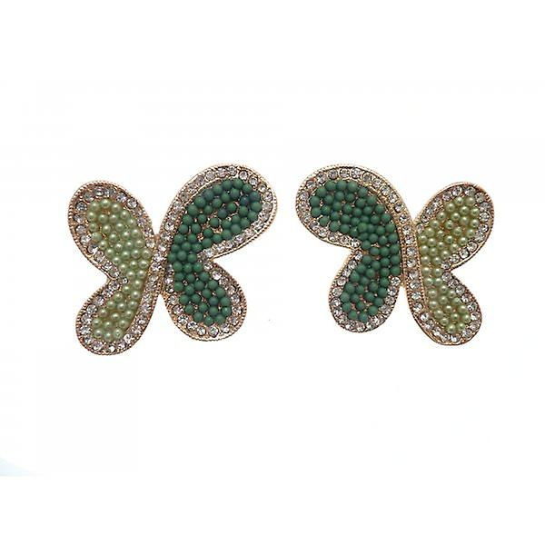 W.A.T Clip On Green Beaded Butterfly Shaped Fashion  Earrings