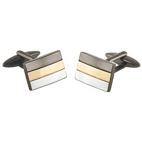 David Van Hagen Striped Metal Rectangle Cufflinks - Grey/Silver/Gold