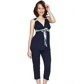 Mio Lounge Santiago Micro Modal Blue Print Pyjamas Set  132C491B