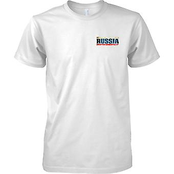 Russia Federation Grunge Country Name Flag Effect - Tricolour - Kids Chest Design T-Shirt