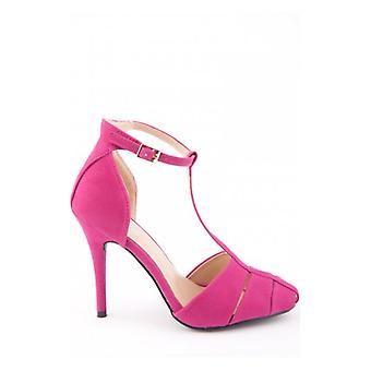 The Fashion Bible Suede T Bar Heels In Pink