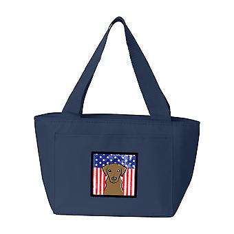 American Flag and Chocolate Labrador Lunch Bag
