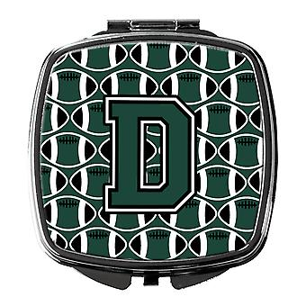 Letter D Football Green and White Compact Mirror