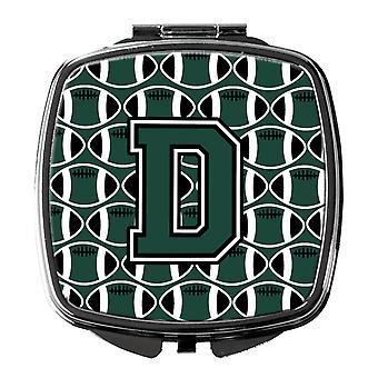 Miroir Compact lettre D Football vert et blanc