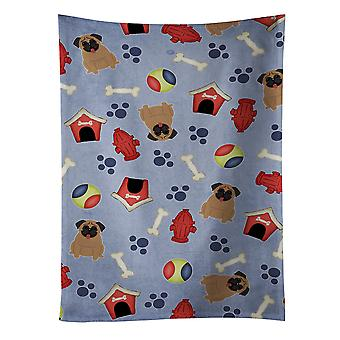 Carolines Treasures  BB2618KTWL Dog House Collection Pug Brown Kitchen Towel