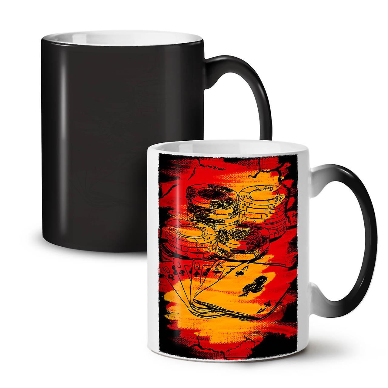 OzWellcoda Ceramic Tea Coffee Poker New Black Gamble 11 Colour Changing Mug dCexBo