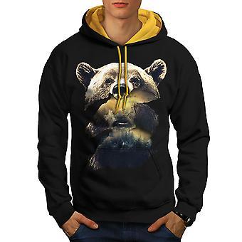Bear Beast Wild Animal Men Black (Gold Hood)Contrast Hoodie | Wellcoda