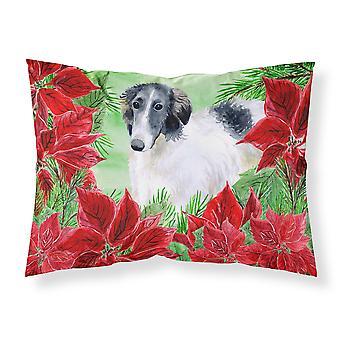 Borzoi Poinsettas Fabric Standard Pillowcase