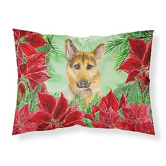 German Shepherd #2 Poinsettas Fabric Standard Pillowcase