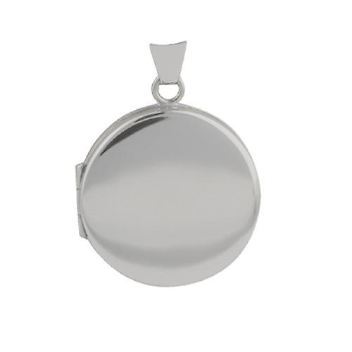 Or Blanc 9ct 23mm Médaillon rond plaine