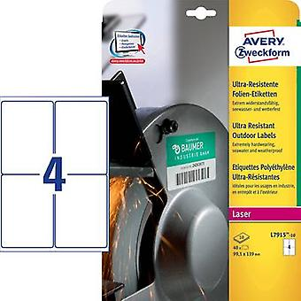 Avery-Zweckform L7915-10 Labels (A4) 99.1 x 139 mm PE film White 40 pc(s) Permanent All-purpose labels