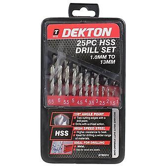 Dekton 25pc DT80214 1.0 - 13mm HSS Drill Set for Metal