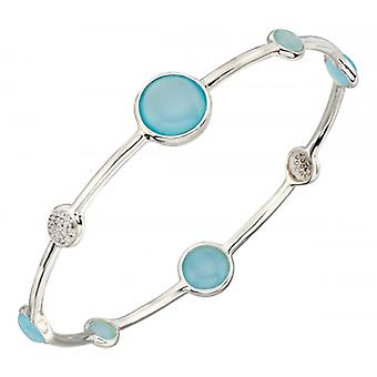 Elements Silver Agate Pave Disc Bangle - Silver/Blue/Clear