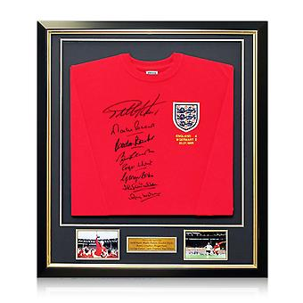 England 1966 World Cup Winning Team Signed Shirt. In Deluxe Black Frame With Gold Inlay