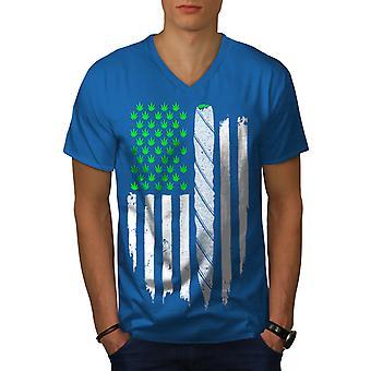 USA Unkraut gemeinsame Flagge Männer Royal BlueV-Neck T-shirt   Wellcoda