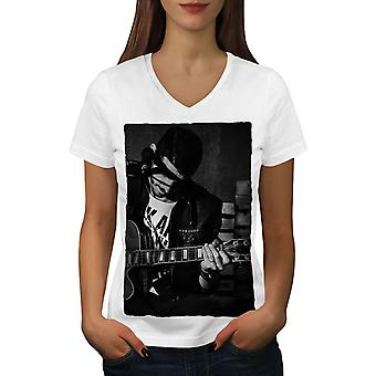 Artist Musician Women WhiteV-Neck T-shirt | Wellcoda