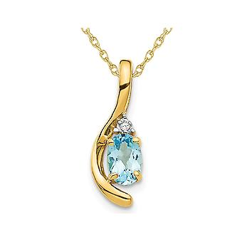 1/2 Carat (ctw) Blue Topaz Pendant Necklace in 14K Yellow Gold with Chain
