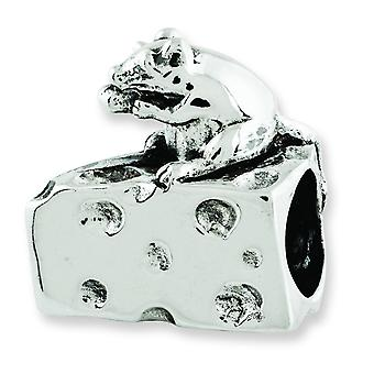 Sterling Silver Polished Antique finish Reflections Mouse Cheese Bead Charm