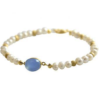 Damen - Armband - Perlen -Vergoldet -  Chalcedon - Blau - 18 cm