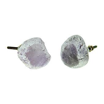 Perilla de gabinete de cristal Natural de Cuarzo Amatista o cajón Pull juego de 2