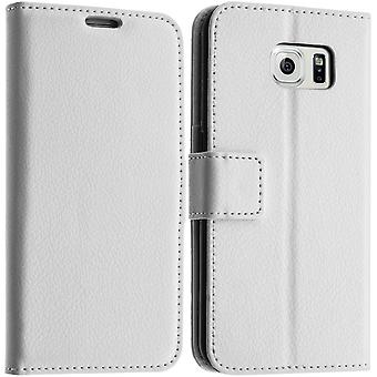 Flip wallet case, slim cover voor de Samsung Galaxy S6, siliconen reservoir - wit