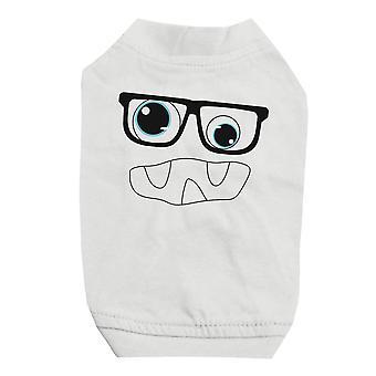 モンスターと小型犬用のペットの白いシャツのメガネ