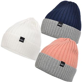 adidas NEO Womens Ladies Knitted Warm Thick Two Tone Beanie Hat - One Size