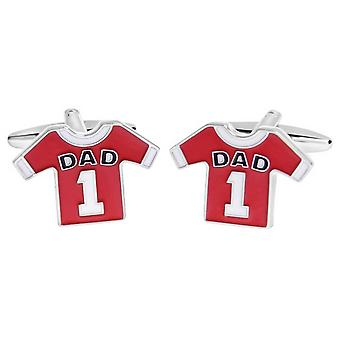 Zennor Dad 1 Football Shirt Cufflinks - Red/White/Silver
