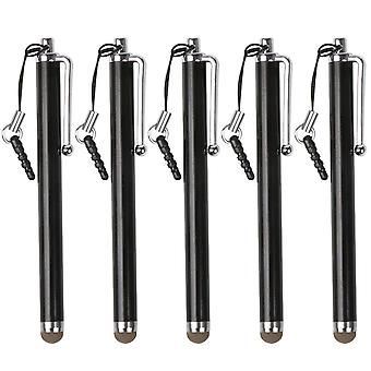 TRIXES zwarte Microfiber Stylus Pen 5 Pack voor Smartphone & Tablet capacitieve touchscreens