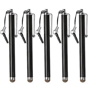 TRIXES negro microfibra Stylus Pen 5 Pack para pantallas táctil capacitiva Smartphone y Tablet