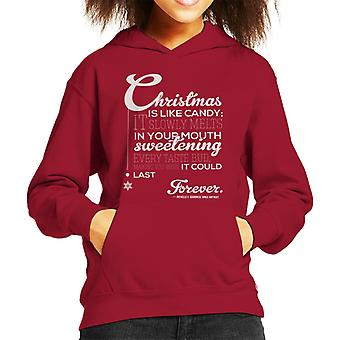 Christmas Is Like Candy Smile Anyway Quote Kid's Hooded Sweatshirt