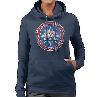 NASA STS 29 Discovery Mission Badge Distressed Women's Hooded Sweatshirt