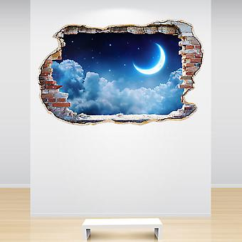 Full Colour Moon Clouds and Stars Smashed Wall 3D Effect Wall Sticker