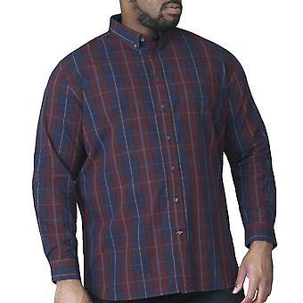 Duke D555 Mens Grady King Size Big Tall Long Sleeve Button Up Shirt - Navy/Wine