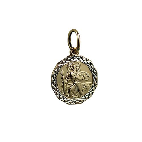 1/20th 14ct yellow gold on Silver 13x13mm dodecagonal diamond cut edge St Christopher Pendant