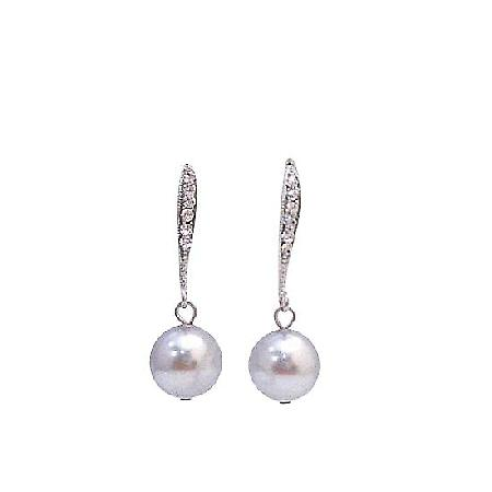 Affordable Lite Grey Swarovski Pearl Dangling Fine Diamante Earrings