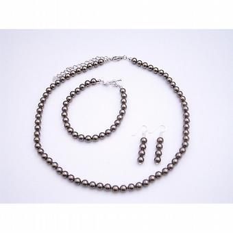 Brown perler halskjede øredobber armbånd 6mm perler smykker