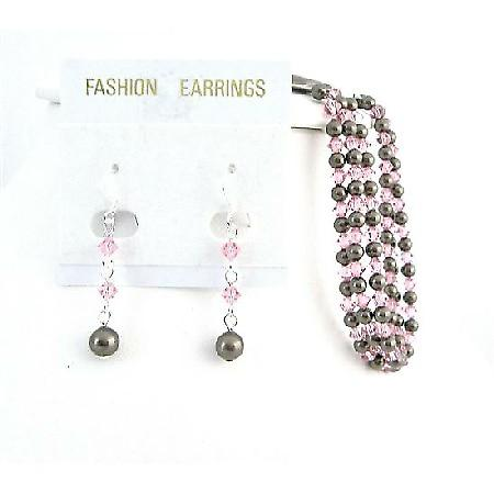 Wedding Brown Chocolate Pearl Bracelet Rose Crystal Matching Earrings