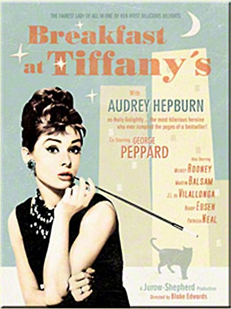 Breakfast at Tiffanys (blue bgrd) steel fridge magnet   (na)