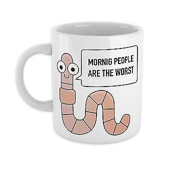 Worm afgedrukt Cup ochtend mensen wit, keramische, vaatwasser-proof.