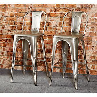 Maison Industrial Metal & Wood Bar Chair