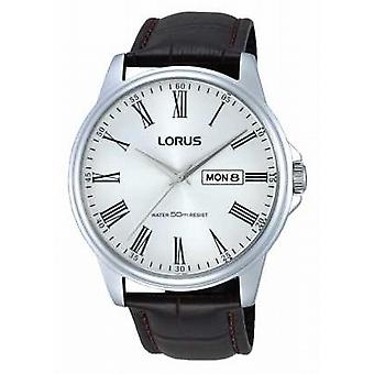 Lorus Mens Stainless Steel Brown Leather Strap RXN11DX9 Watch