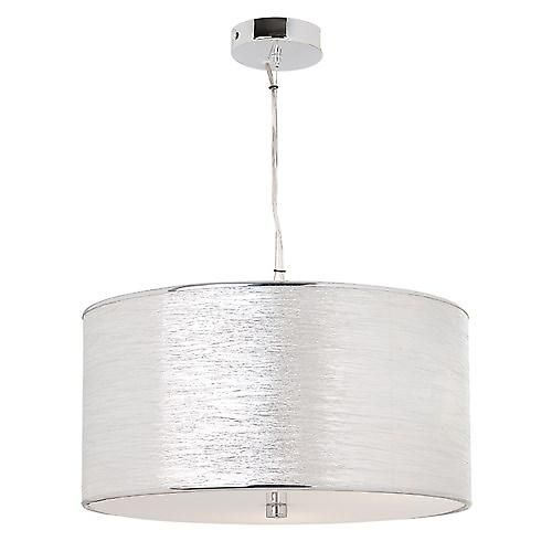 Endon REBOLO-3CH Rebolo Modern Chrome Pendant Drum Fabric Shade With Diffuser