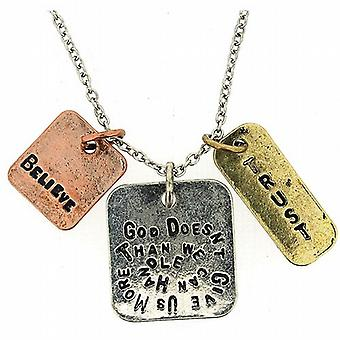 God Doesn't Give Us More Than We Can Handle - Triple Charm Tag Pendant 16