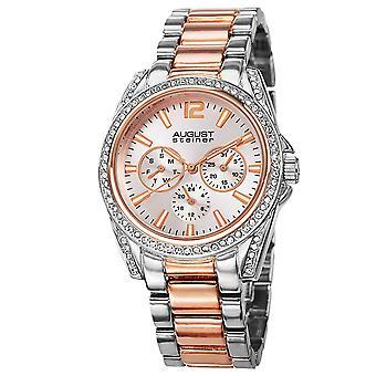 August Steiner AS8075TTR Crystal Multifunction Bracelet Watch