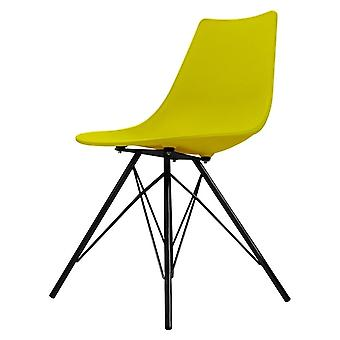 Fusion Living Iconic Lime Plastic Dining Chair With Black Metal Legs